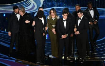 HOLLYWOOD, CALIFORNIA - FEBRUARY 24: Crew of 'Spider-Man: Into the Spider-Verse' accepts the Animated Feature Film award onstage during the 91st Annual Academy Awards at Dolby Theatre on February 24, 2019 in Hollywood, California. (Photo by Kevin Winter/Getty Images)